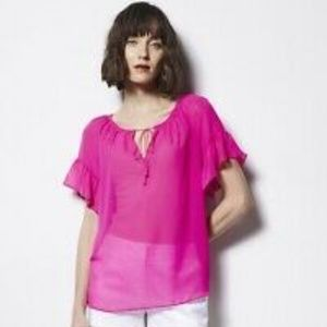 Milly for Design | Hot Pink Sheer Blouse size L